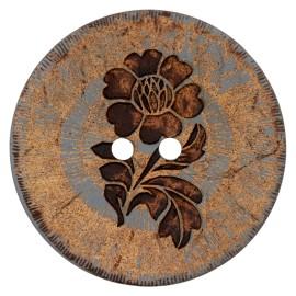 Bouton noix de coco Flower power - gris