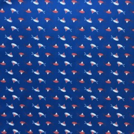 Oeko-Tex Fish and clown poplin fabric - blue x 10cm
