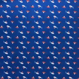 Tissu Oeko-Tex Popeline Fish and clown - bleu x 10cm