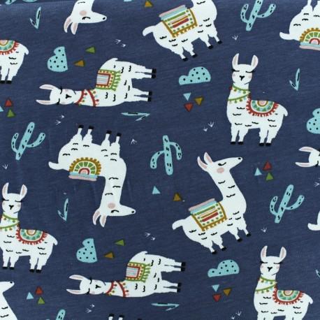 Tissu Oeko-Tex Jersey Lama - indigo x 10cm