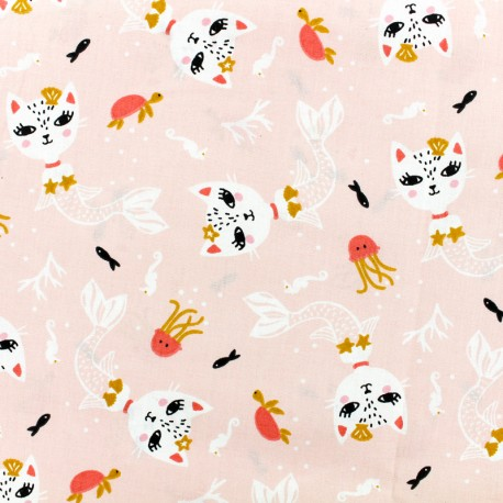 Oeko-Tex Cretonne cotton Fabric Siamirene - pink x 10cm