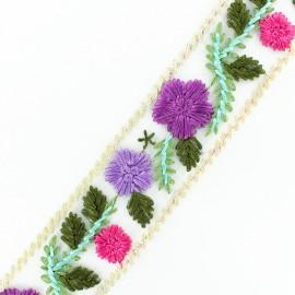 Ruban broderie sur tulle Fleurette - violet x 50cm