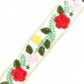 Ruban broderie sur tulle Fleurette - rouge x 50cm