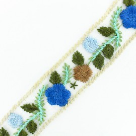 Embroidery on tulle Ribbon Fleurette - blue x 50cm