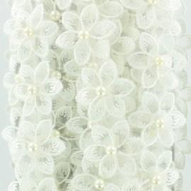 Galon fleurs brodées sur organza 35 mm - blanc x 50cm