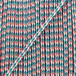 7 mm braided cord A - turquoise/fuchsia x 1m
