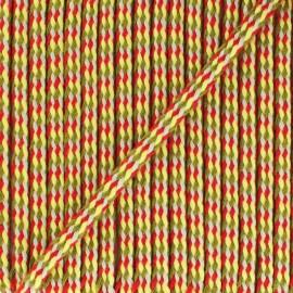 7 mm braided cord B - turquoise/brick x 1m