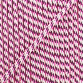 Cordon tressé 7 mm D - rose/fuchsia x 1m