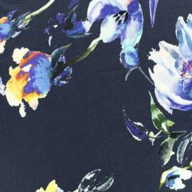 Tissu Jersey Viscose fleurs bleues - fond marine x 10cm