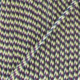 Cordon tressé 7 mm H - vert/bordeaux x 1m
