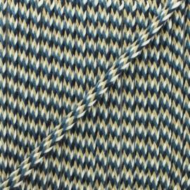 7 mm braided cord H - burgundy/green x 1m