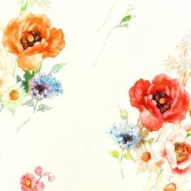 Tissu Jersey Viscose fleurs d'été - fond écru x 10cm