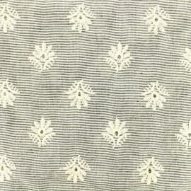 Joy Embroidered cotton fabric - grey and ecru x 10 cm
