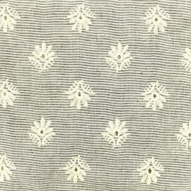 Tissu coton chambray rayé brodé joie - gris et écru x 10 cm