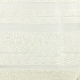 ♥ Coupon 200 cm X 150 cm ♥ Organza fabric stripes with - white