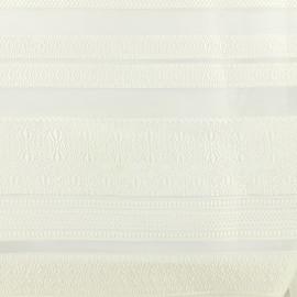 Tissu organza rayé matière - crème x 42 cm
