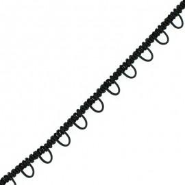 Galon boutonnière élastique 6 mm - noir x 1m