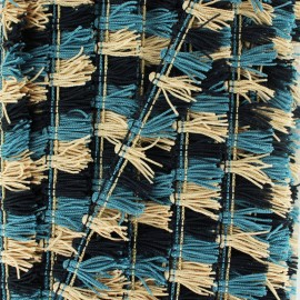 Galon Petits pompons à franges - gris bleu/beige x 1m