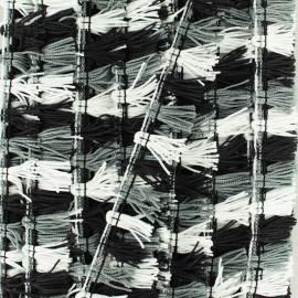 Galon petits pompons à franges - noir/blanc x 1m