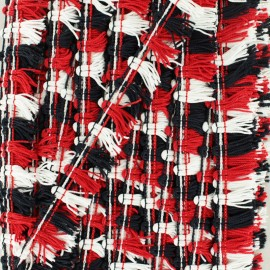 Galon petits pompons à franges - rouge/noir/blanc