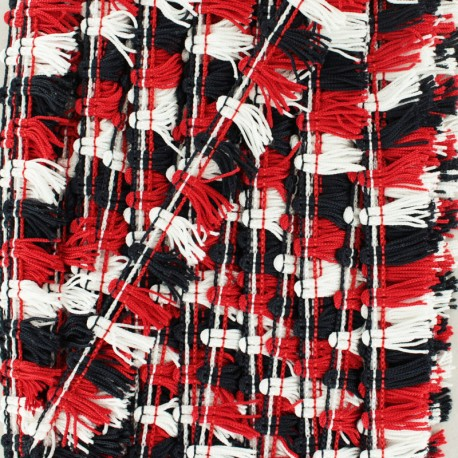 Little pompom fringe braid ribbon - black/white x 1m