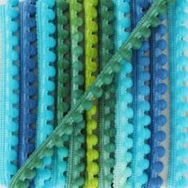 Galon mini pompon boule Camaïeu - bleu/vert x 1m