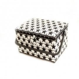 Boîte à couture Etoiles Taille L - noir et blanc
