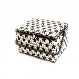 Sewing box size L - Stars - black and white