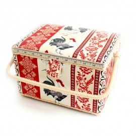 Sewing box size L - Cocorico - red