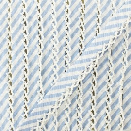 Biais replié grande rayure bord crochet 12 mm - bleu ciel x 1m