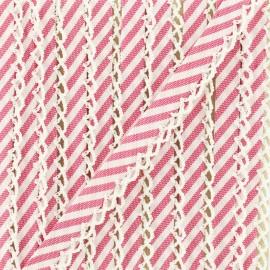 Biais replié grande rayure bord crochet 12 mm - grenadine x 1m