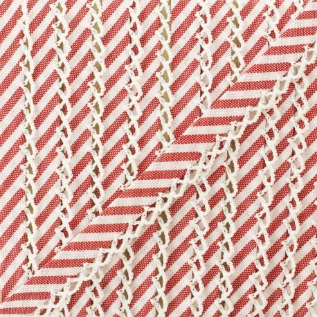 Biais replié grande rayure bord crochet 12 mm - rouge x 1m