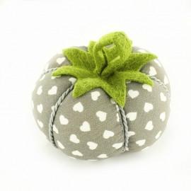 Porte épingles tomate Joli coeur - gris