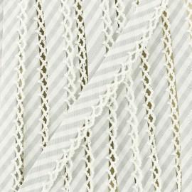 Biais replié grande rayure bord crochet 12 mm - gris x 1m
