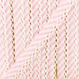 Biais replié grande rayure bord crochet 12 mm - rose x 1m