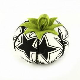 Porte épingles tomate étoiles - noir et blanc