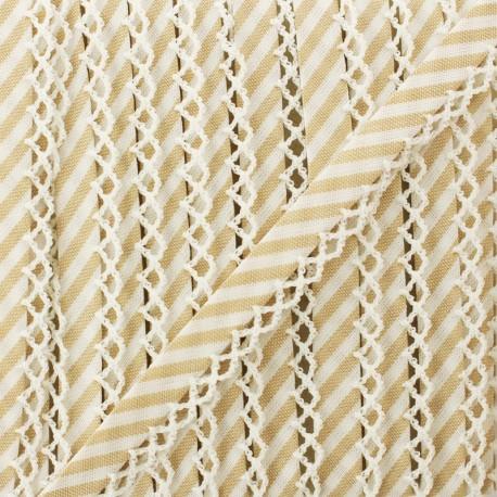 Biais replié grande rayure bord crochet 12 mm - ficelle x 1m