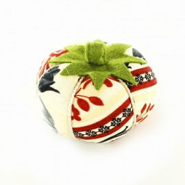 Tomato pin cushion Cocorico - red and cream