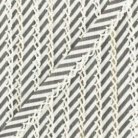 12 mm picked edges folded up large stripe bias binding  - beige x 1m