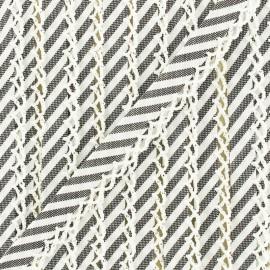 Biais replié grande rayure bord crochet 12 mm - anthracite x 1m