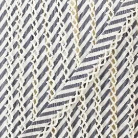 Biais replié grande rayure bord crochet 12 mm - marine x 1m