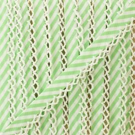 Biais replié grande rayure bord crochet 12 mm - vert clair x 1m