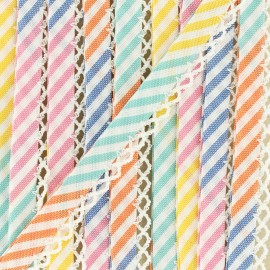 Biais replié grande rayure bord crochet 12 mm - multi x 1m