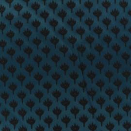 Tissu jacquard chamaerops - noir et bleu x 10cm