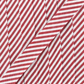 Large stripe bias binding 30mm - red