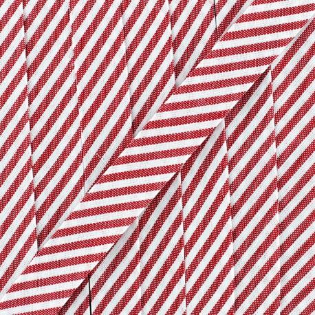 Biais grande rayure - rouge coquelicot x 1m