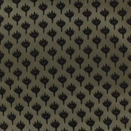 ♥ Coupon 100 cm X 145 cm ♥ Jacquard fabric chamaerops - sand and black