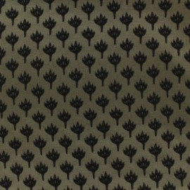 Jacquard fabric chamaerops - sand and black x 10cm