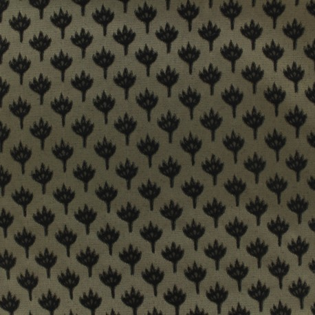 Tissu jacquard chamaerops - noir et sable x 10cm