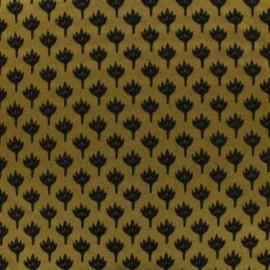 ♥ Coupon 20 cm X 145 cm ♥ Tissu jacquard chamaerops - noir et moutarde